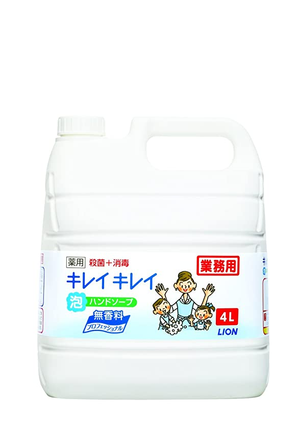 保険マウントしつけ【大容量】キレイキレイ 薬用泡ハンドソープ プロ無香料4L