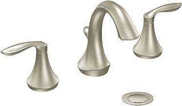 Moen T6420BN Eva Two-Handle High-Arc 8-Inch Widespread Bathroom Faucet, Valve Required, Brushed Nickel
