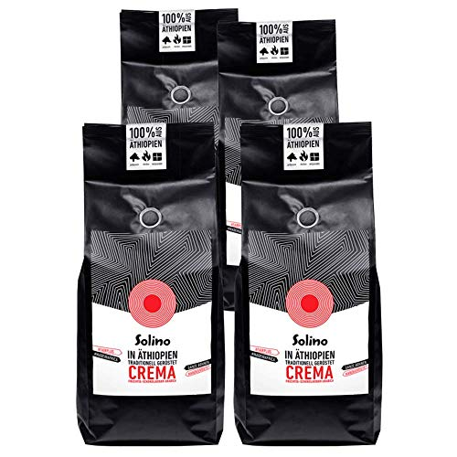 Caffè Crema aus Äthiopien (4 x 1kg) - Der nachhaltige Büro-Kaffee - Ganze Bohnen, handgeröstet in Ethiopia. Arabica Kaffee, helle Röstung