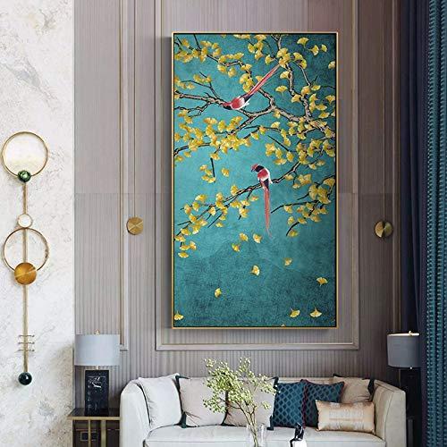 BailongXiao Hallo Blumen- und Vogelplakat Chinesische Leinwand Malerei Wohnzimmer Wohnzimmer Studie Korridor Wohnkultur Wandmalerei,Rahmenlose Malerei,30x50cm