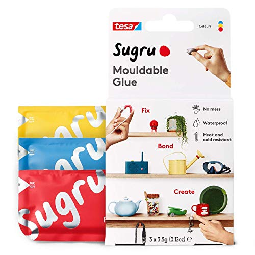 Sugru I000943 Moldable MultiPurpose Glue for Creative Fixing and Making Red Blue amp Yellow 3 Piece