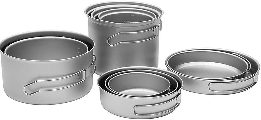 Pure Titanium Cooker, ustensiles de Camping Ultra-légers pour la randonnée en Plein air, Vaisselle Saine et écologique, Pot de Cuisson portatif