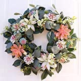 Develoo 15.7 Inches Artificial Wreath- Fake Eucalyptus Leaves Hanging Garlands Wreath Hanger Farmhouse Spring Greenery Succulent Wreath for Front Door Home Office Decoration