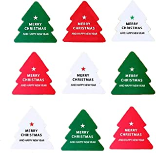100PCS Self Adhesive Red & Green & White Christmas Tree Shaped Stickers with Merry Christmas and Happy New Year Print Gift...