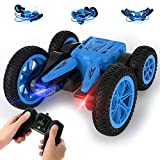 Stunt Car Toy, 4WD 2.4Ghz Remote Control Car Double Sided Drive 360° Rotating & Tumbling, High Speed, Cool Lights, Off-Road Racing Vehicle Gift Toy Cars for 3+ Girls and Boys, Blue