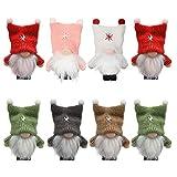 Fookduoduo Gnomo Navidad, 8 Piezas Set (Seis Colores) Juguete de Peluche navideño, Elfos de Navidad Muñecos para Adornos Navideños Originales hogar decoración de Fiestas con Acollador, 10cm