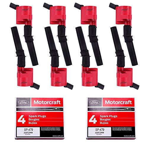 8pcs MAS Ignition Coil DG508 & 8 pcs Motorcraft Spark Plug SP479 Compatible With...