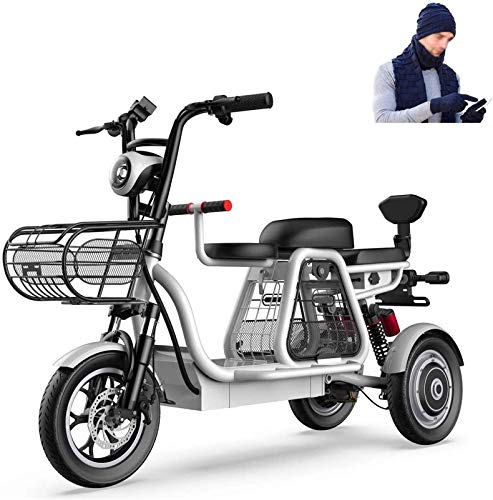 Ebikes, bicicleta eléctrica de 3 ruedas para adultos 500W 48V Montaña Scooter eléctrico 12 en bicicleta eléctrica Múltiple absorción de choque con cesta de almacenamiento y asiento para niños para fam