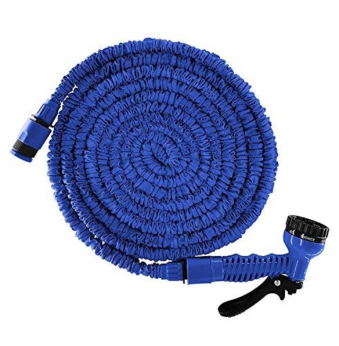 DY_Jin 15 M 50Ft Magic Stretch Flexible Manguera de jardín, 3 x Tubo de Manguera de Agua expandible, Triple Capa de Peso Ligero sin Pliegues con Boquilla de rociado de Agua de 7 ajustes (Blue)