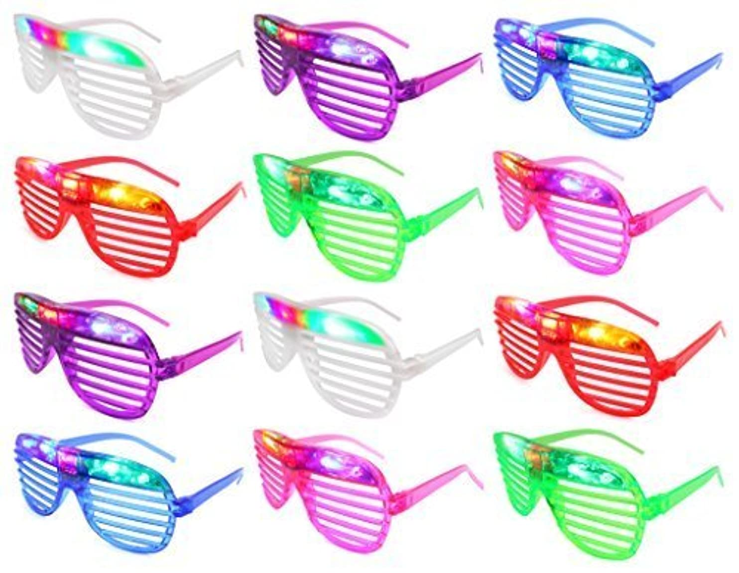 Set of 12 VT Flashing LED Multi Color 'Slotted Shutter' Light Up Show Party Favor Toy Glasses (Colors May Vary) ejtbkbqcoxp90