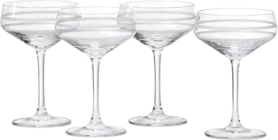 Crafthouse by Fortessa CRFTHS.119731 Professional Barware by Charles Joly, Etched Schott Zwiesel Tritan 8.8 oz Coupe Cocktail Glass, Set of 4, Clear