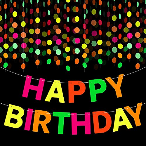 WATINC Neon Geburtstagsfeier Dekoration UV Reactive Birthday Party Banner 29ft Papier Girlande 18ft Alles Gute zum Geburtstag Banner Kreis Punkte Hängende Dekor für Glow in Dark Schwarzlicht Party