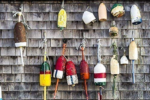 Lobster Buoys On Wall Cape Neddick Maine Photograph Handmade