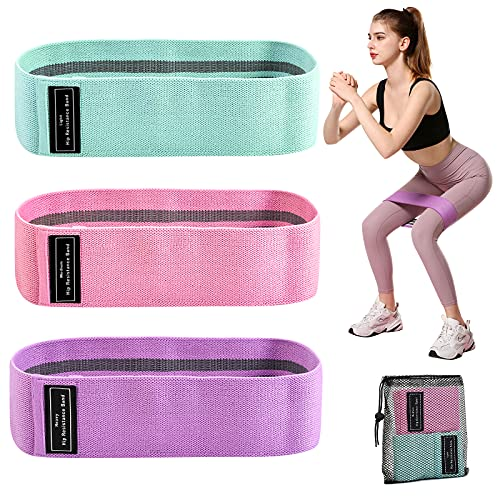 GAINAWIN Fabric Loop Exercise Bands for Legs and Buttocks,Set of 3 Resistance Bands,Fitness Workout Elastic Bands Non-Slip Hip Booty Bands for Physio,Yoga, Pilates with Carry Bag Included