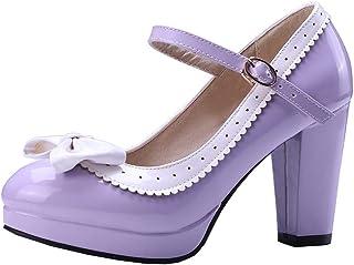 LOVOUO Escarpins Mary Jane Femme Plateforme Talon Bloc Carré Haut Vernis Bride Cheville avec Noeud Boucle Chaussure Sweet 8CM