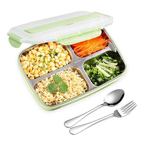 AUPLAY Bento Box Kids Brotdose Premium Lunchbox Kinder und Erwachsene für Schule Picknick Ausflug mit 4 Unterteilungen auslaufsicher (Grün)