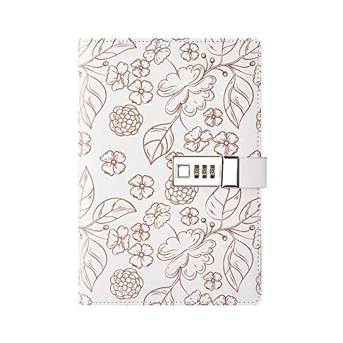 FNMYH Cuadernos Cuaderno de Cuaderno de la Cubierta de PU A5 Libro de Diario de los Estudiantes con Bloqueo de contraseña para la Oficina del hogar de la Escuela artística, etc. (Color : Brown)