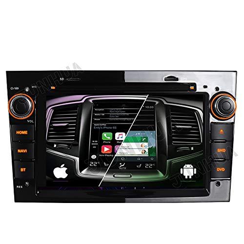 Dual-Tuner Autoradio 2GB+32GB Eingebautes Carplay+Android Auto 10 Rohm-DSP Bluetooth 5.0 DAB+ WiFi 4G USB CD DVD Navi GPS für OPEL Astra H G Corsa C D Vivaro Antara Vectra Zafira (Klavier Schwarz)