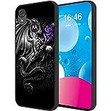 Moto E6 Case 2019,Soft Liquid Silicone Microfiber Lining Shockproof Protective Phone Case for Motorola Moto E6 5.5 Inch,Dragon with Purple Rose