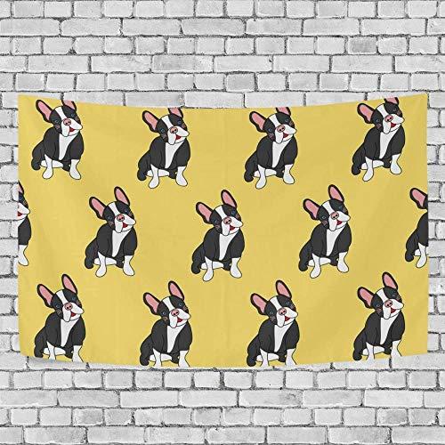 JXZIARON Tapiz Art Paño para Colgar en la Pared Impresión HD Cocina Dormitorio Sala de Estar Decoración,Lindo Fondo Exclusivo de Bulldog Francés de Patrones sin Fisuras para 60 x 40 Pulgadas