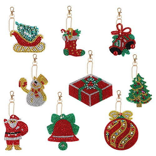 Frgasgds Diamond Keychains, 9 Pieces Christmas DIY Diamond Painting Keychains Kits Full Drill Rhinestone Making Decorative 5D Drill Key Chain for Phone Charm Bag Christmas Tree Decor