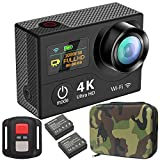 GreatCool Action Cam 4K Wifi Dual-Bildschirm Wireless-Fernbedienung Camera Kamera Wasserdicht mit 2...