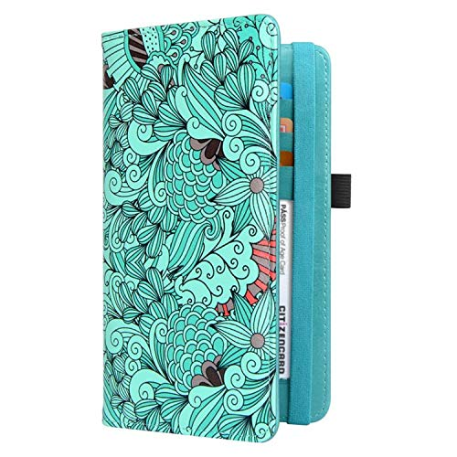 CoBak Checkbook Cover - Premium Leather Check Book Holder Wallet with RFID Blocking Function for Men and Women, Floral