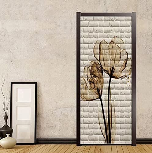 Pared de ladrillo tulipán imagen pegatinas de puerta papel tapiz 3D dormitorio sala de estar decoración de puerta Mural 3D PVC autoadhesivo calcomanías impermeables