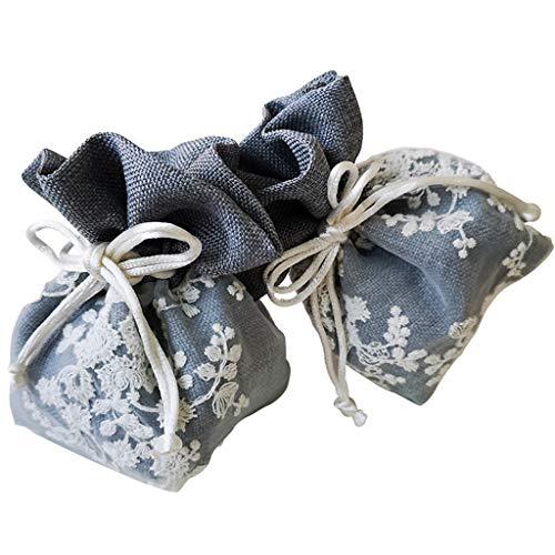 ZJL220 Bolsa de almacenamiento con cordón organizador de joyas bordado floral cuerda elástica paquete de regalo collar pulsera anillo bolsas