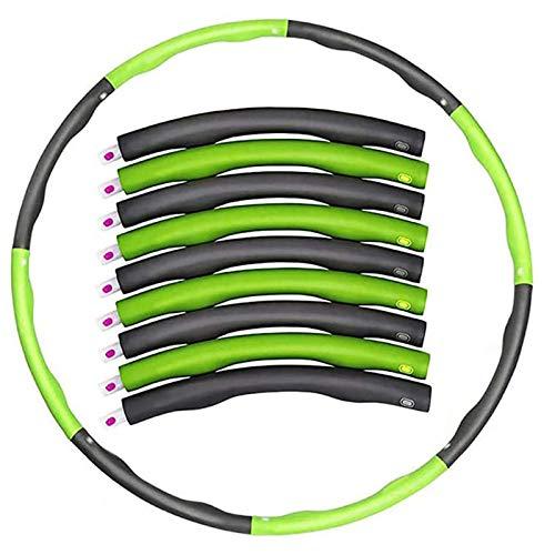 Hula Hoop Rimovibile Spugna Hula Hoops Misura Adattabile per Donne E Uomini, Verde con Grey