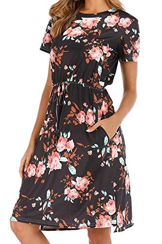 CLOUSPO Sommerkleid Damen Elegant Kurzarm Rundhals Knielang Blumenkleid Strandkleid (Medium, Schwarz)