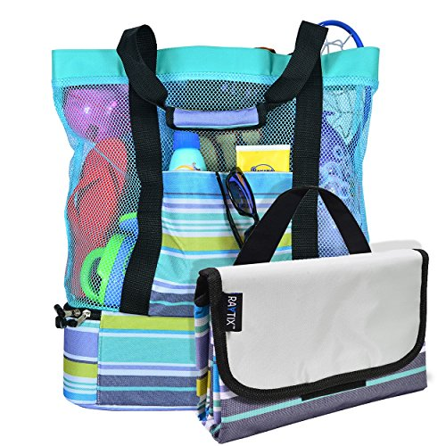 Breezy Convenient Mesh Beach Tote Bag with Lightweight Fold-Up 5'x6' Beach...