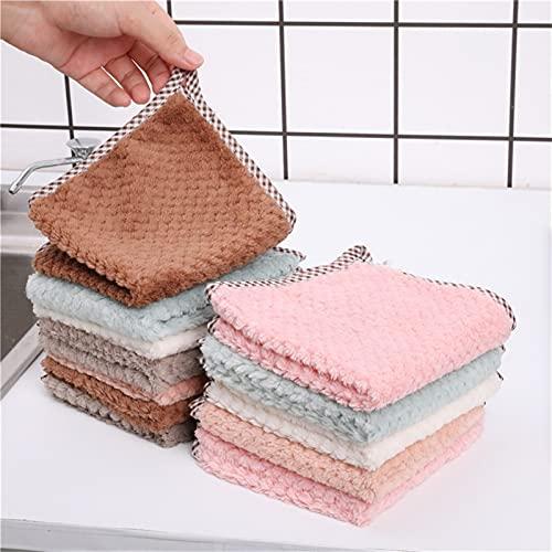 10 unids piña de doble cara trapo absorbente de dos caras toalla gruesa pequeña toalla cuadrada sin toalla colgante de toalla de toalla de toalla de cocina (Color : Green)