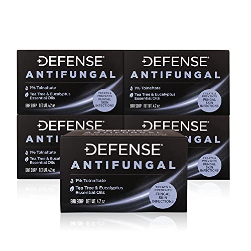 Defense Antifungal Medicated Bar Soap 5-Pack | Intensive Treatment for Athlete's Foot Fungus and...