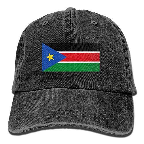 Ahdyr Gorra de béisbol Unisex Sombrero de Mezclilla Bandera de Sudán del Sur Gorra de Caza con Snapback Ajustable-Negro