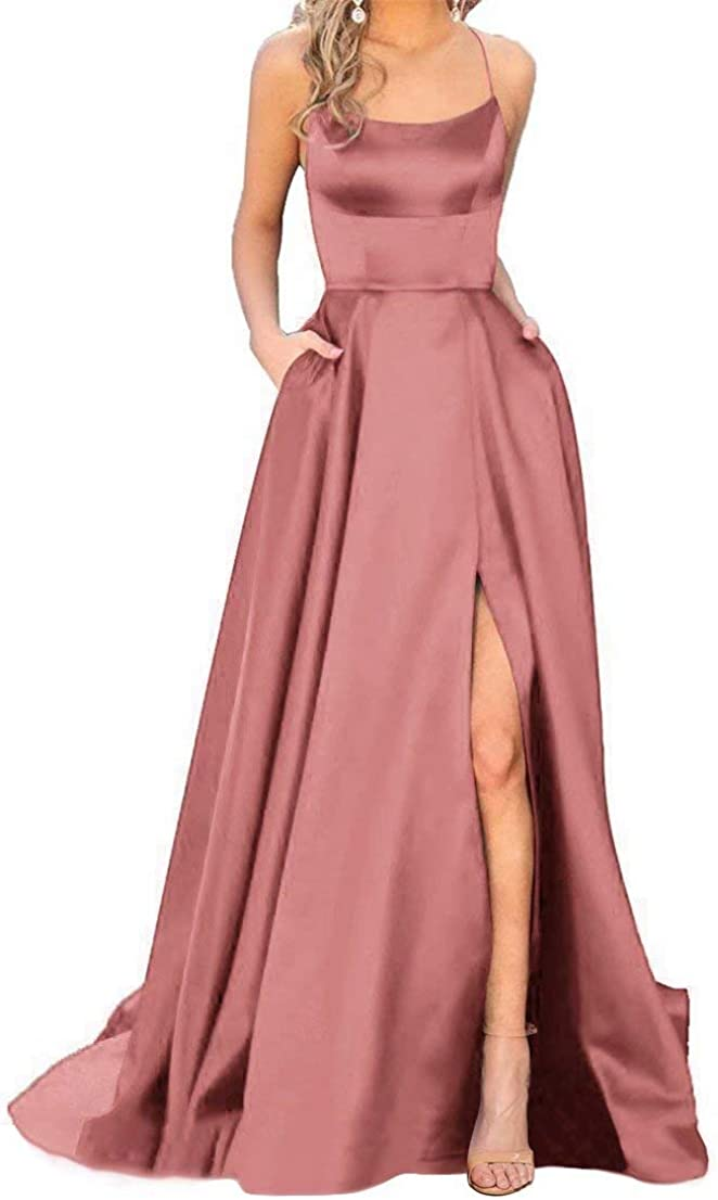 JASY Women's Spaghetti Satin Long Max 59% OFF with Pocket Bombing free shipping Black Dresses Prom