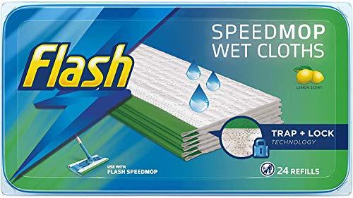 Flash Speedmop - Recambios de tela húmeda, fácil e higiénico, limón multi-superficie, 24 paños