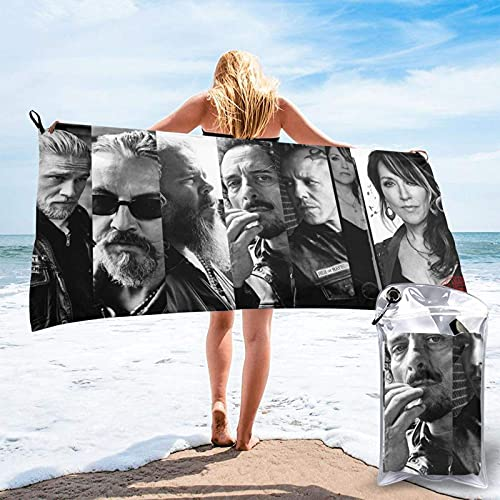 XCNGG Microfiber Travel Towel Sets, Quick Dry Sports Gym Beach Towels - Super Absorbent,Sweat Towels,Perfect for Camping,Gym,Beach,Swimming,Backpackingsons of Anarchy- 31.5'x63'