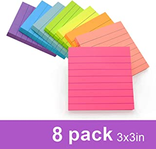 (8 Pack) Lined Sticky Notes 3x3 in Bright Ruled Post Stickies Colorful Super Sticking Power Memo Pads Strong Adhesive, 8 Pads/Pack, 82 Sheets/pad