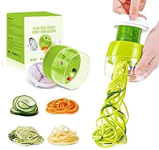 Cortador de Verdura 4 en 1 Rallador de Verduras Calabacin Pasta Espiralizador Vegetal Veggetti Slicer, Espaguetis de Calabacin, Cortador Espiral Manual