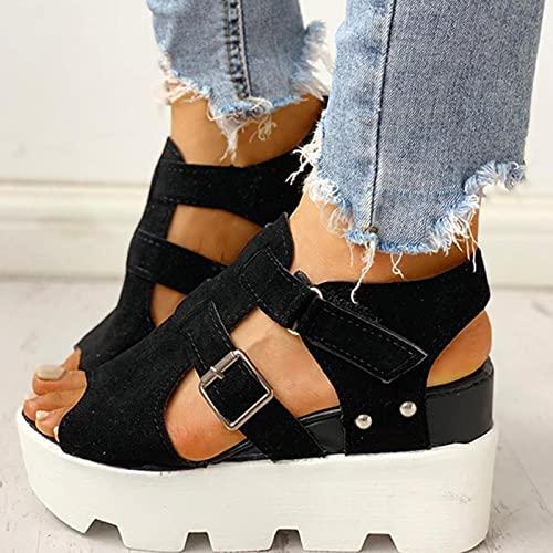DZQQ 2020 Moda Verano Plataforma cuña Tacones Altos Informales cómodos Zapatos de Ocio Ligeros Sandalias de Mujer Zapatos de Mujer