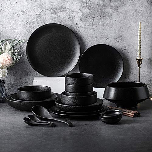 Platos de cena elegantes, juegos de cena de cerámica, plato de cereal y plato de carne con esmalte negro mate de 46 piezas  Juego de vajilla de porcelana para reuniones familiares y restaurante