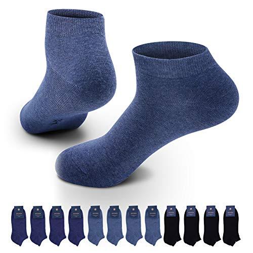 Lowbangge Sneaker Socken Herren Damen 12 Paar Sportsocken Halbsocken Kurze Baumwolle (Schwarz-Marine -Blau, 43-46)