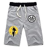 WANHONGYUE Anime Dragon Ball Z Goku Shorts Sport Homme Pantalon Court de Jogging Cosplay Bas de Survêtement Sweatpants Gris/3 XL