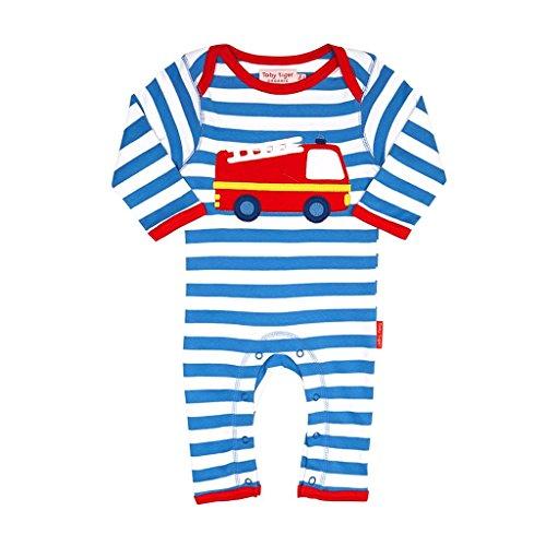 Toby Tiger Fire Engine Applique Sleepsuit - Combinaison - Bébé garçon, Bleu - Blue (Blue/White/Red/Yellow), 6-12 mois (Taille fabricant: 80 cm)