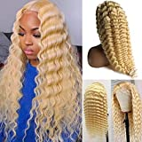 """Human Hair Lace Front Wigs for Women Remy Brazilin Virgin Hair Pre-Plucked Natural Hairline with Baby Hair 13x4 Free Parting Long Blonde Deep Wave Soft and Bouncy Straight Lace Wig 24"""" 150% Density"""