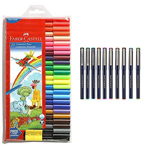 Luxor Finewriter Assorted Color (Pack of 10 Pen) & Faber-Castell Connector Pen Set - Pack of 25 (Assorted)
