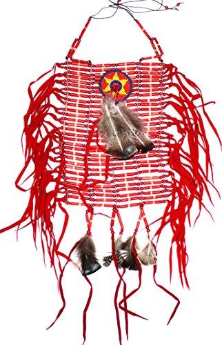 Hejoka-Shop NEU Indianer BRUSTPANZER 25 x 55 cm. echte Knochen Bone Hairpipes MASSIV echte Knochen ROT Fotoshooting Fasching Halsschmuck