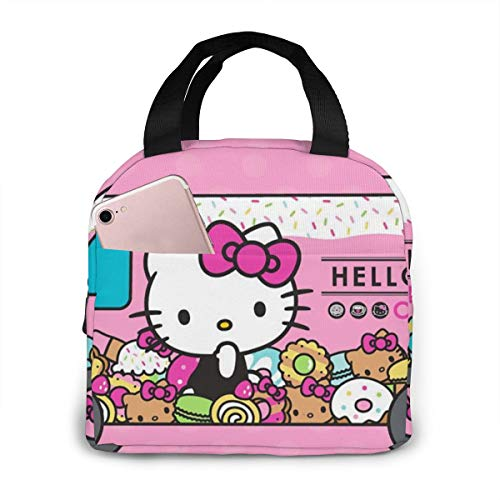 Lunch Bag Tote Hello Kitty Cafe Car Lunchbox Insulated Lunch Cooler Box Meal Prep Containers For Woman Man Kids