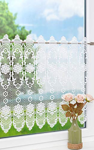 Plauener Spitze Scheibengardine Spitzenblume (Bx H) 96cm * 58cm weiß